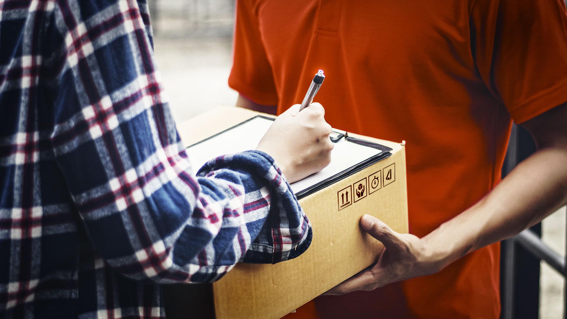 A parcel being delivered