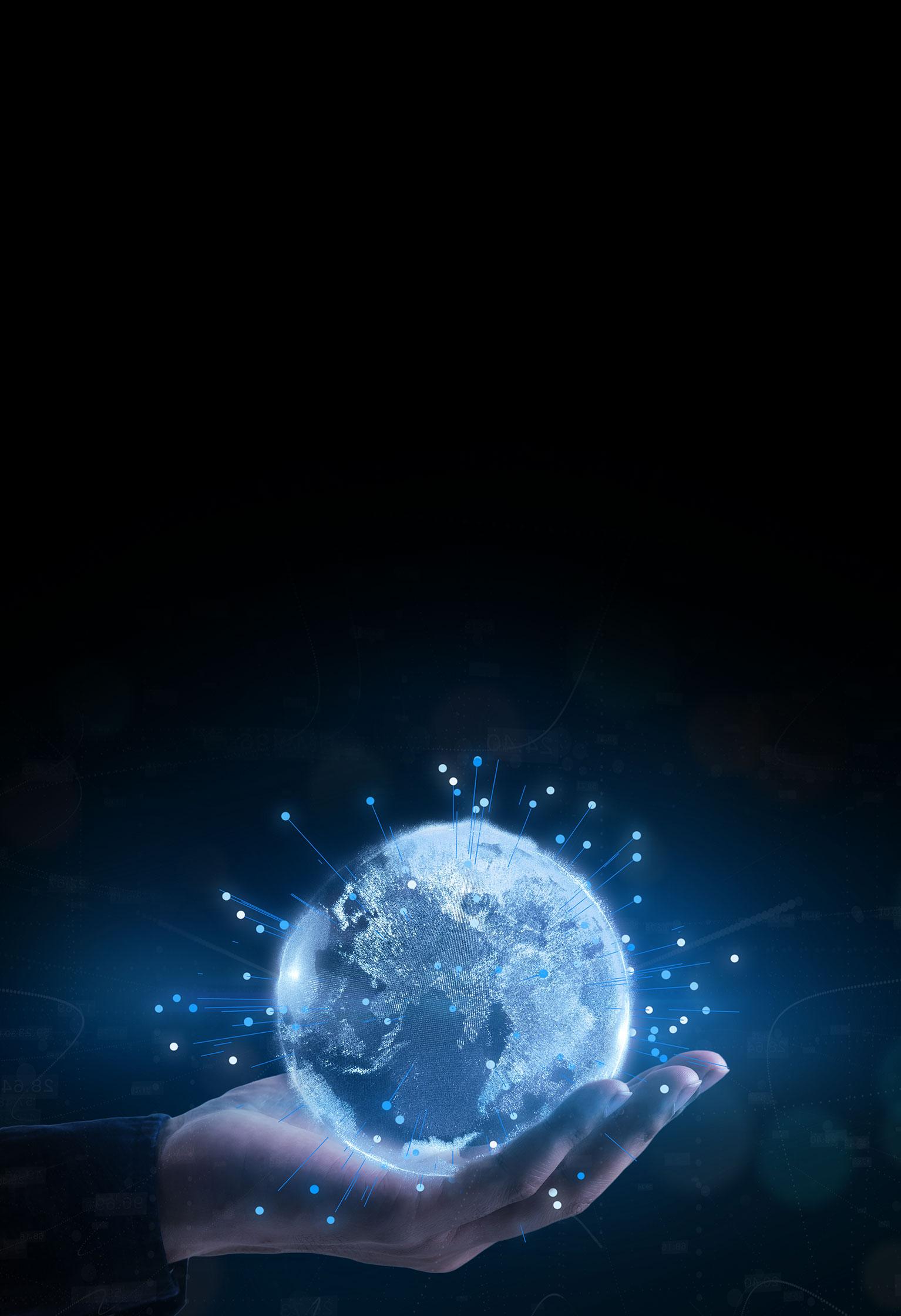 Illustration of hand holding a techno globe