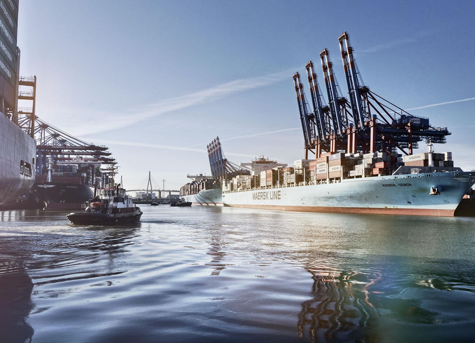 Cargo ship on open ocean