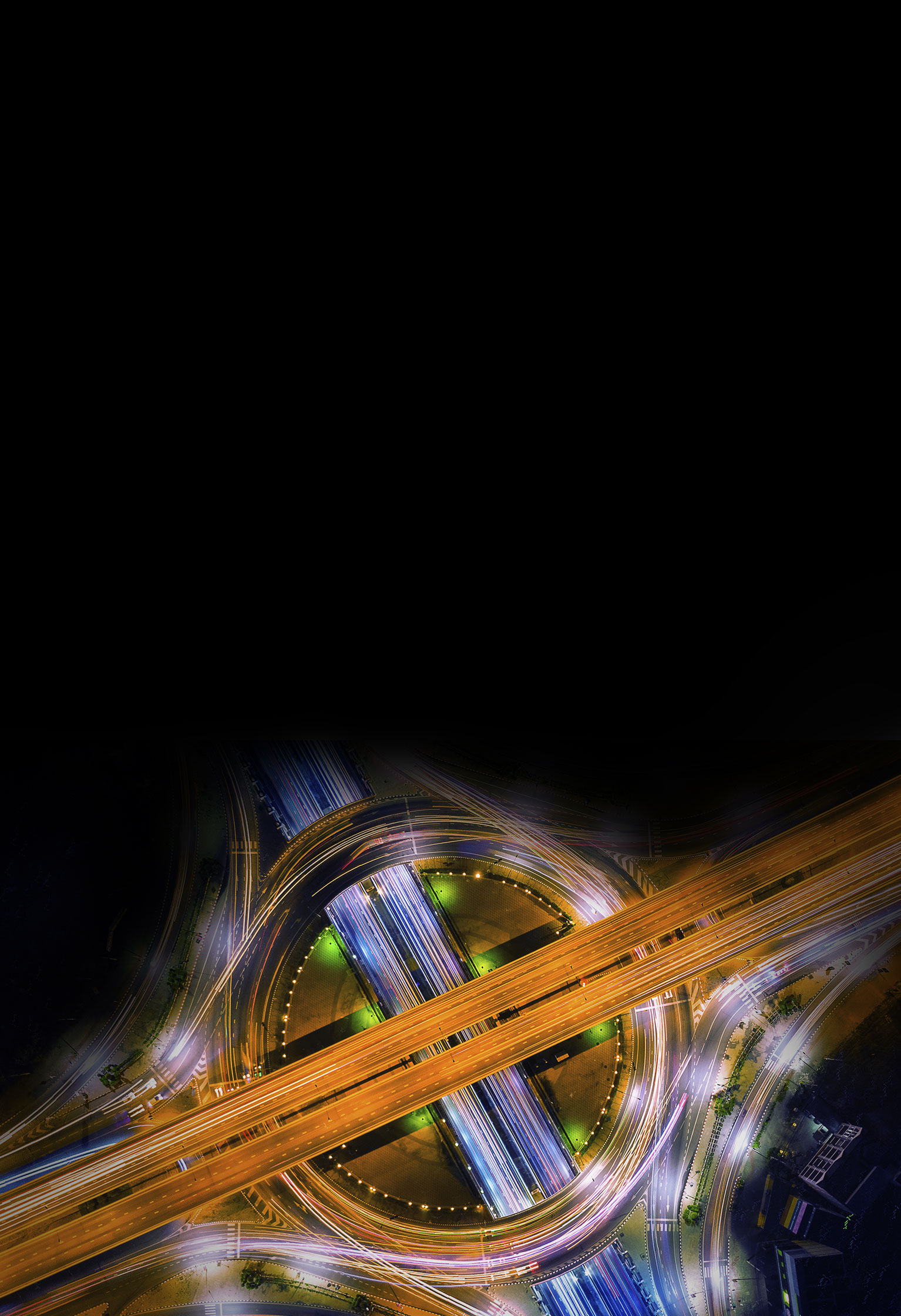 Long exposure of a road system at night