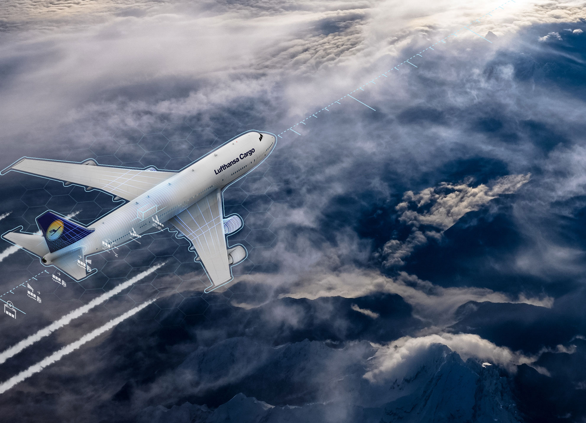 Photo illustration of aircraft over clouds being tracked