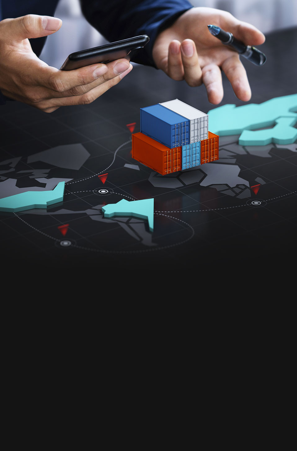 Professional planning upon a map with cgi containers