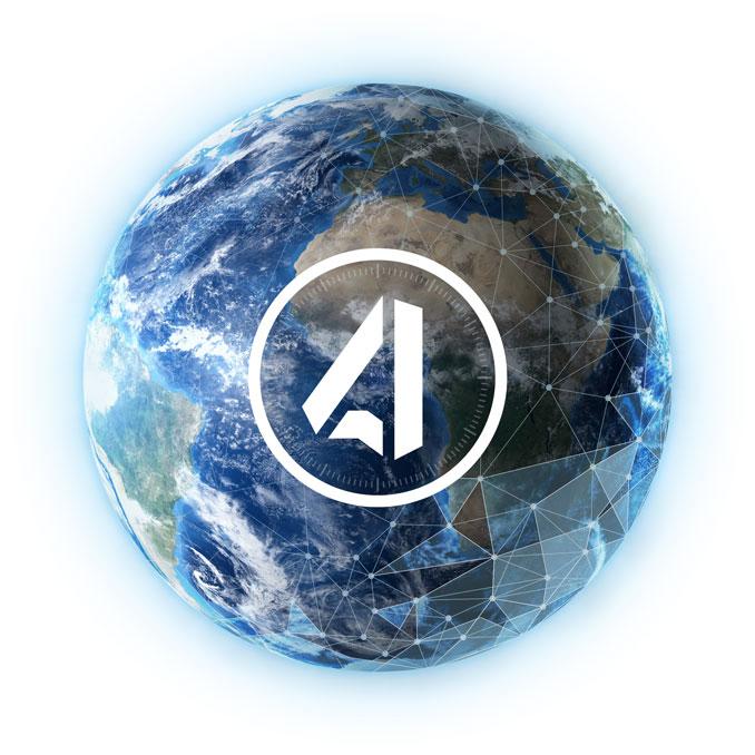 Globe with network illustration