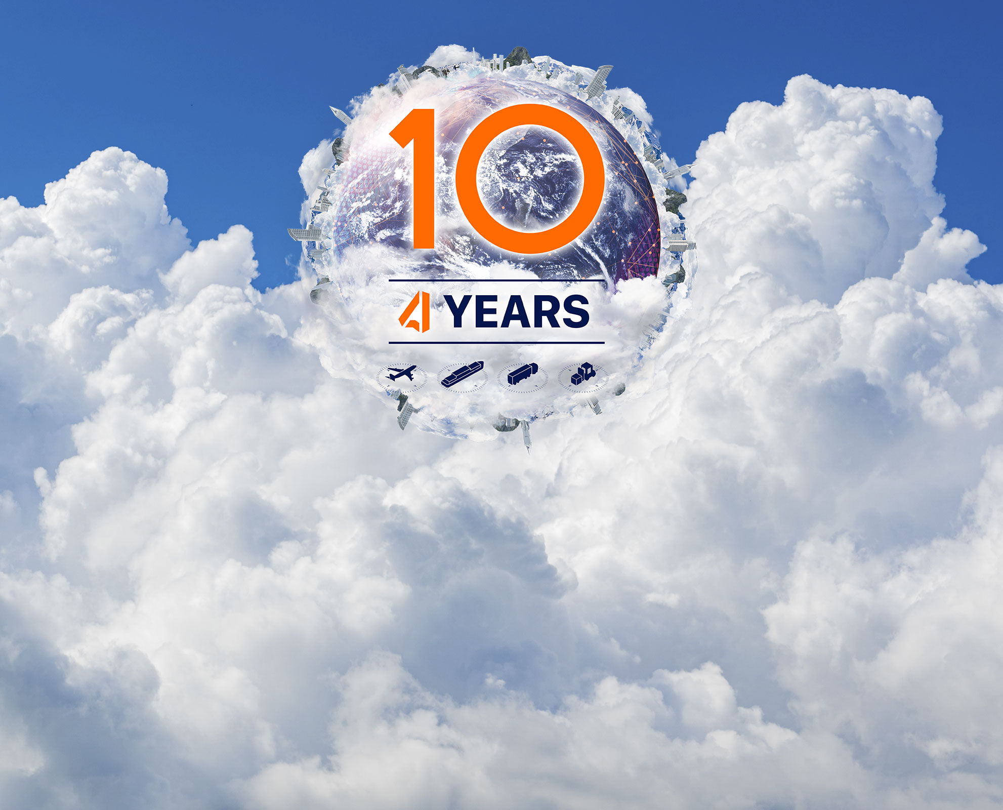 Globe in Clouds saying 10th Years