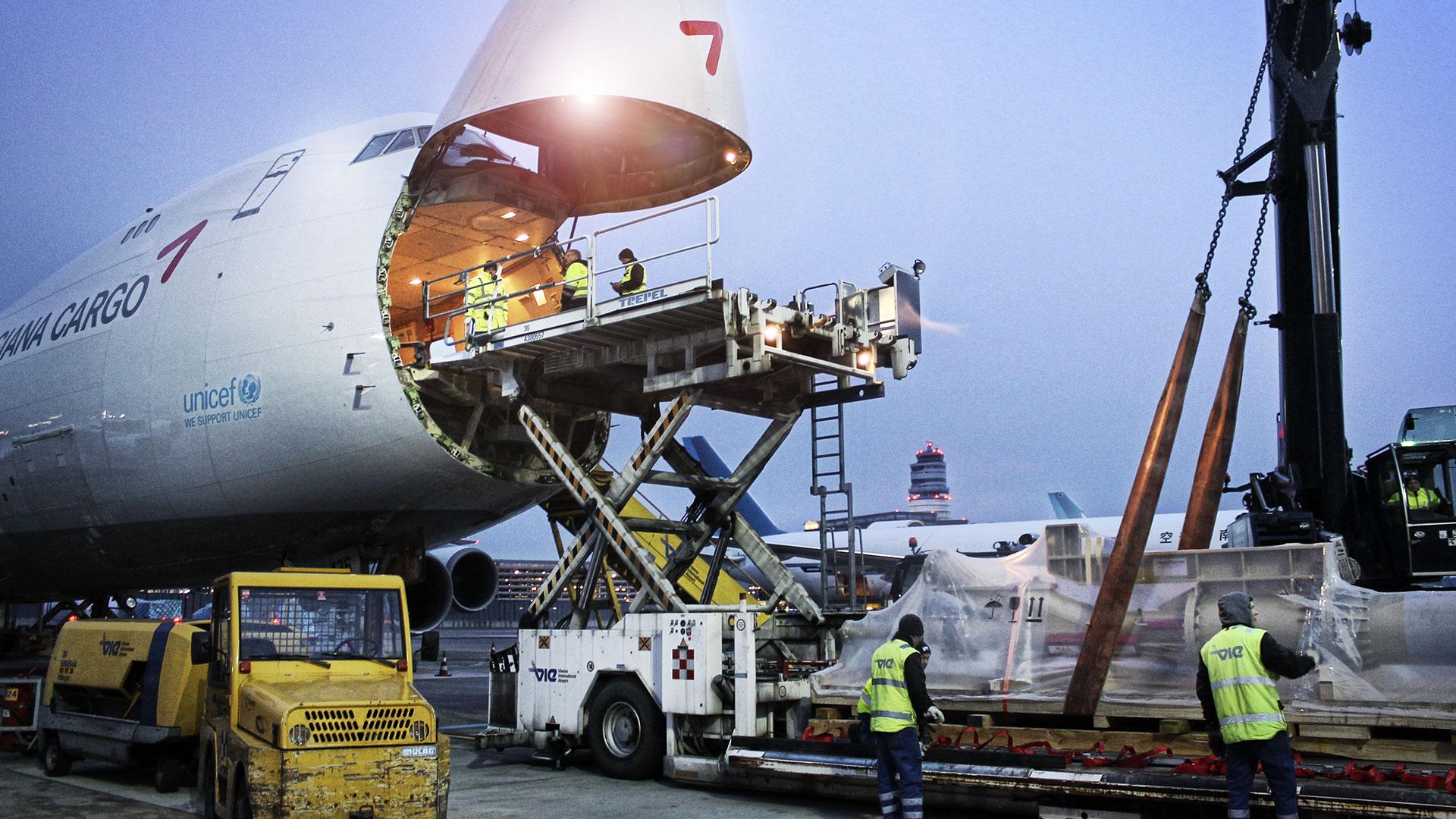 Cargo plane being unloaded.