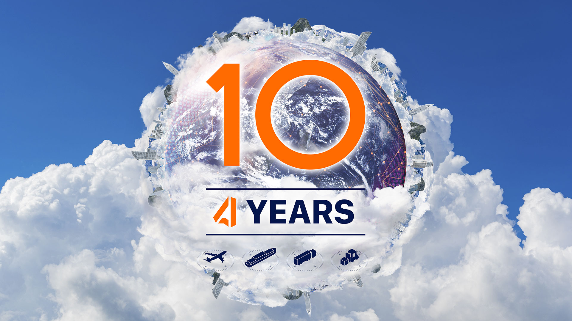 Globe in the Clouds with 10 Years ACS Logistics